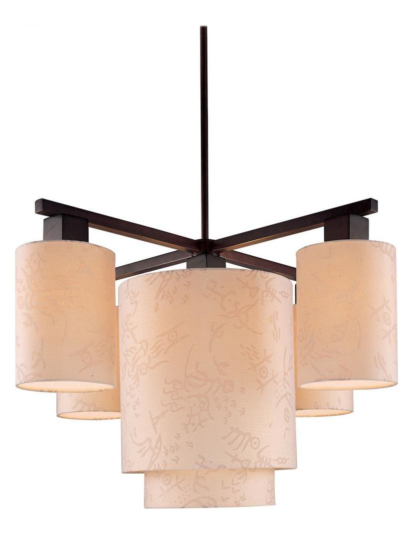 Minka George Kovacs Antique Bronze 5 Light 1 Tier Chandelier from the Kimono Collection
