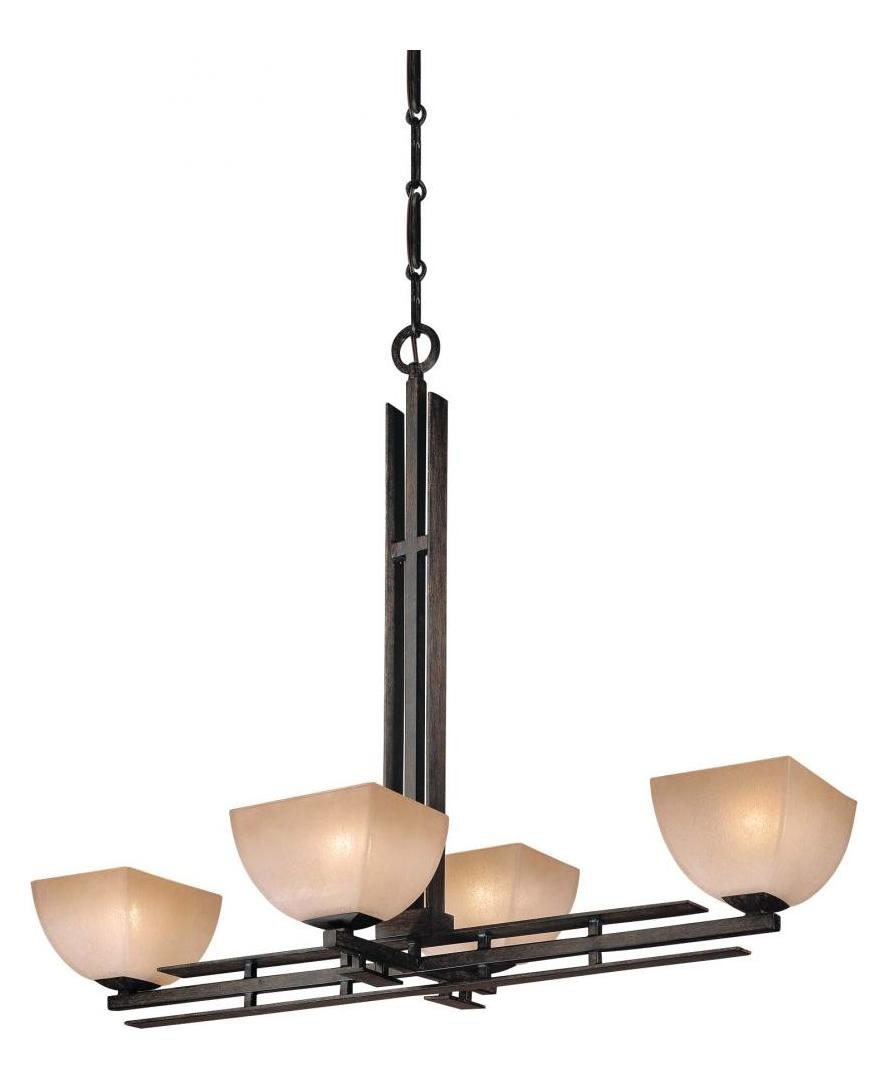 Minka-Lavery Iron Oxide 4 Light 1 Tier Linear Chandelier From The Linear Collection