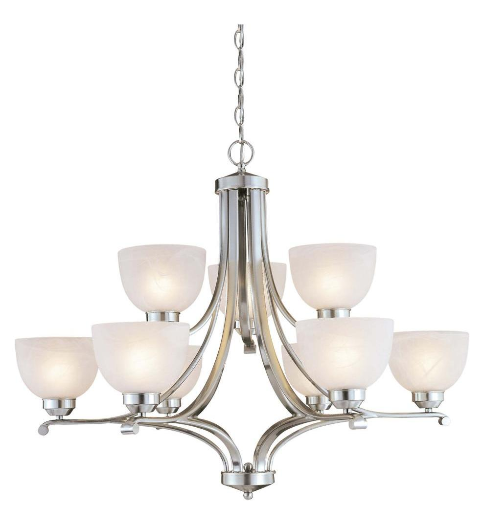Minka-Lavery Brushed Nickel 9 Light 34In. Width 2 Tier Chandelier From The Paradox Collection