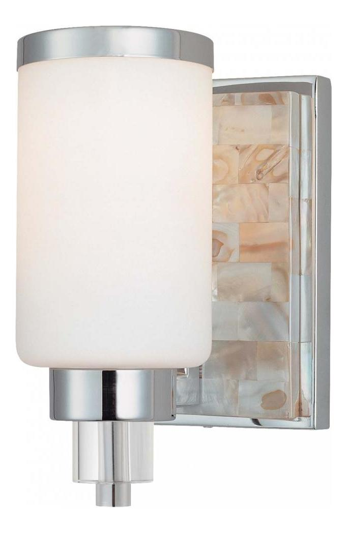 Minka lavery chrome with natural shell 1 light height bathroom sconce chrome with for Minka bathroom light fixtures