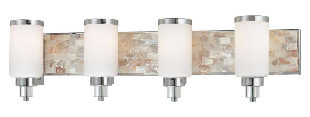 Minka-Lavery Chrome With Natural Shell 4 Light 34In. Width Bathroom Vanity Light