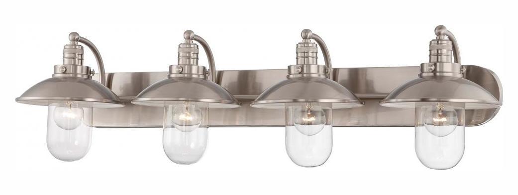 Contemporary Urban Bath Vanity Light: Minka-Lavery Brushed Nickel 4 Light Bathroom Vanity Light