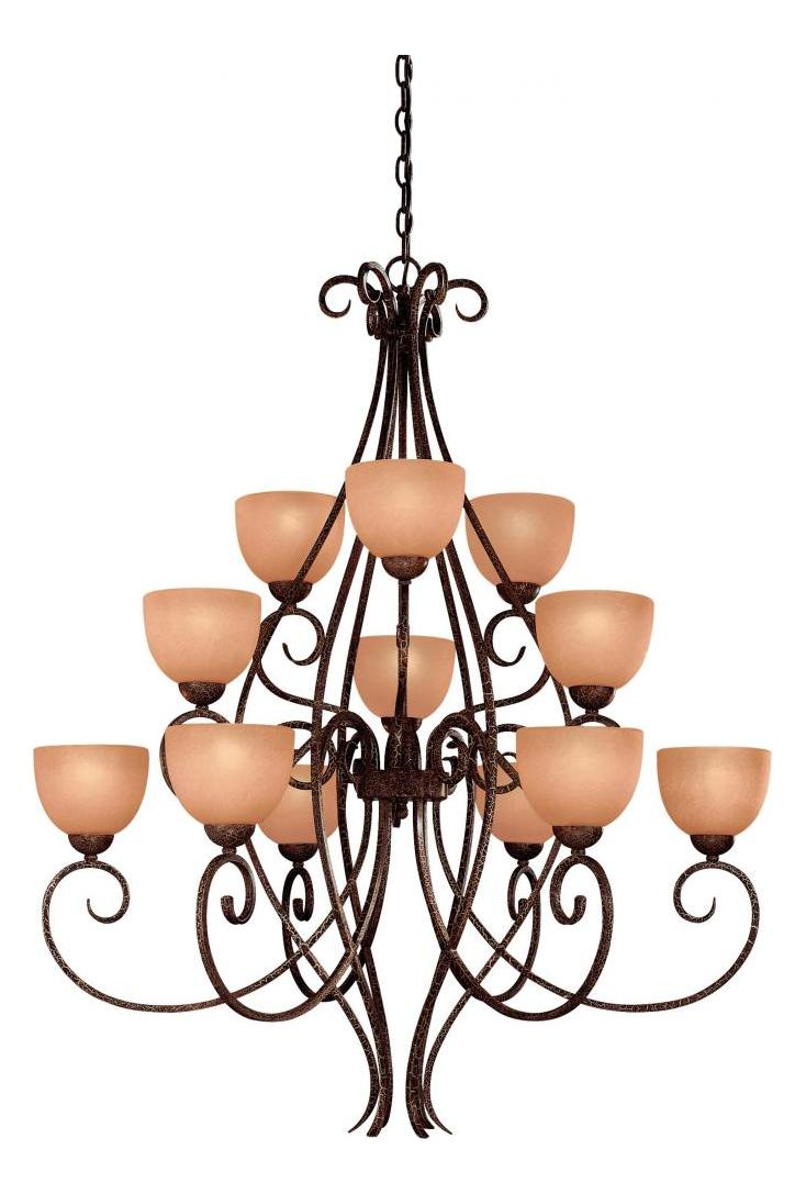 Minka-Lavery Golden Bronze 12 Light 3 Tier Chandelier From The Caspian Collection