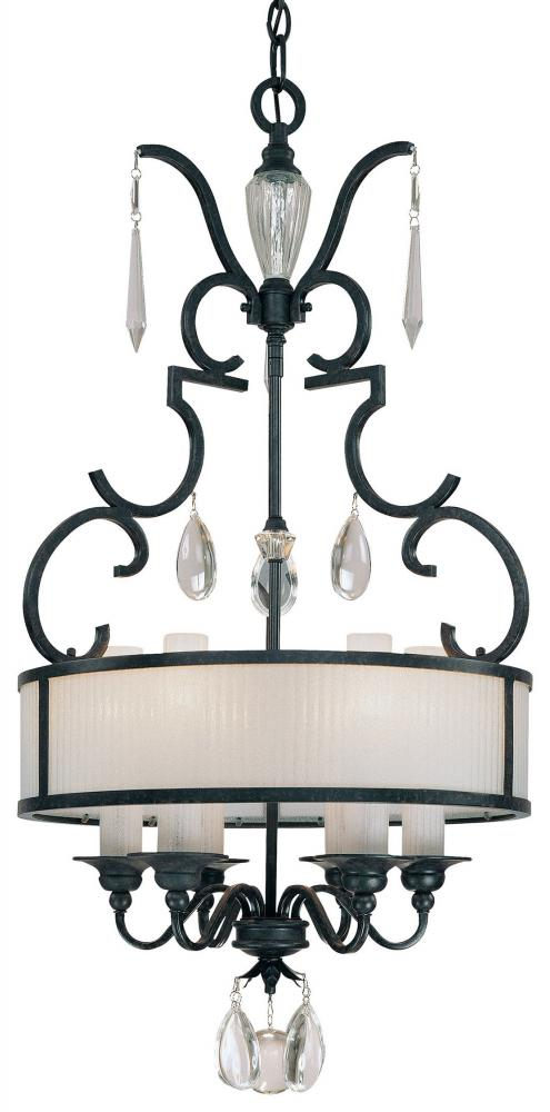 Minka Metropolitan Castellina Aged Iron 6 Light Drum Pendant From The Castellina Collection