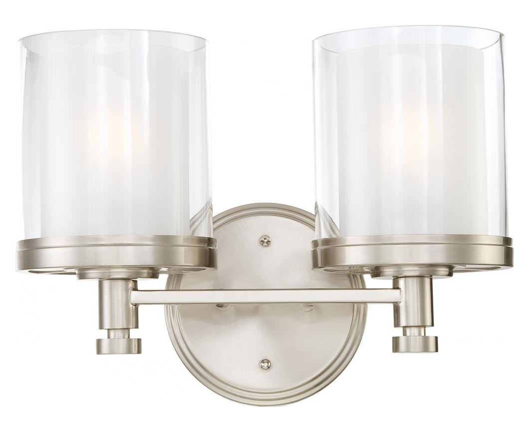 Brushed Nickel 2 Globe Vanity Bath Light Bar Interior: 2 Light Vanity Fixture W/ Clear & Frosted