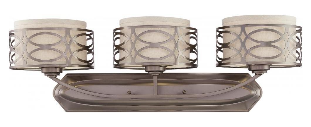 Nuvo Harlow 3 Light Vanity Fixture W Khaki Fabric