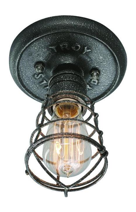 Troy One Light Old Silver Cage Flush Mount Old Silver