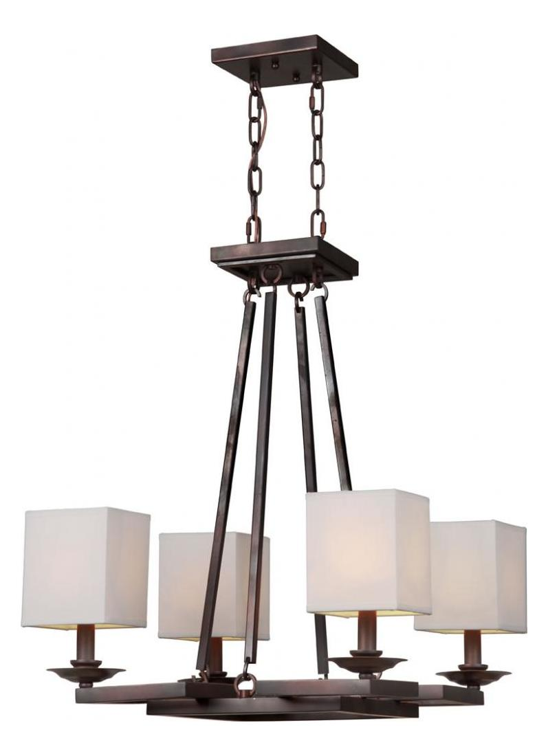 Forte Four Light Antique Bronze Fabric Shade Up Chandelier
