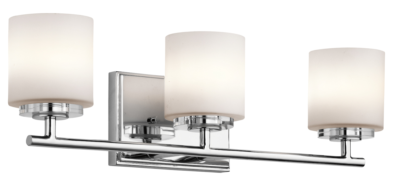 Kichler kichler 45502ch chrome o hara 22 wide 3 bulb - Chrome bathroom lighting fixtures ...