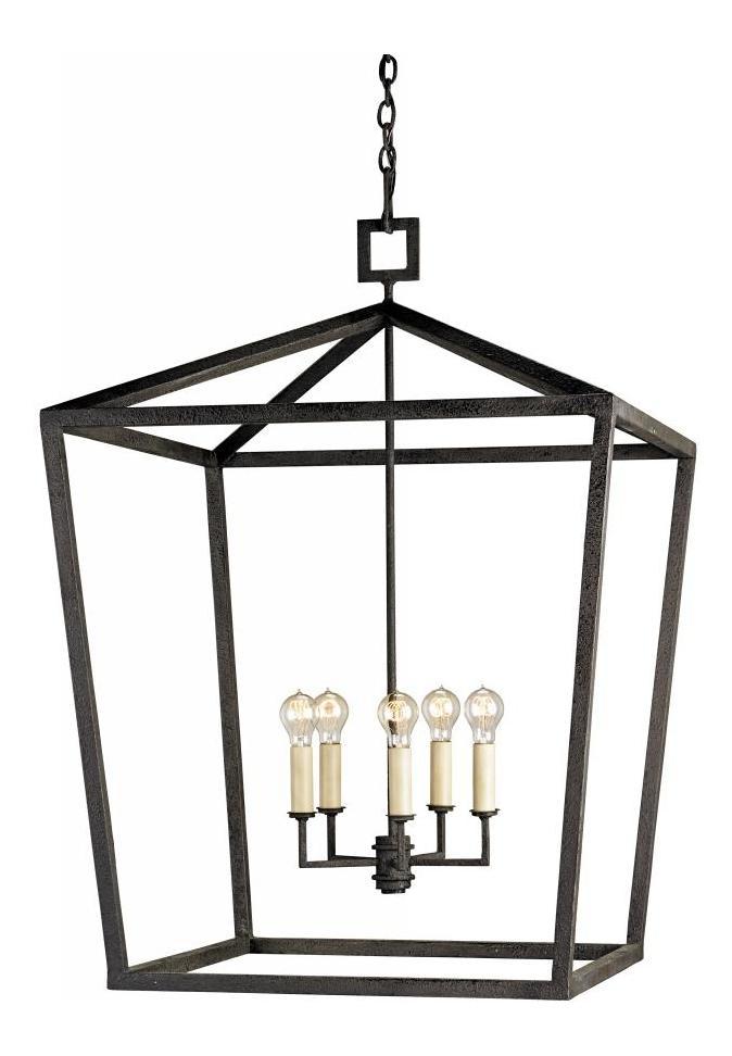 Currey Mole Black Denison 5 Light Chandelier In Lantern Style Wrought Iron Frame