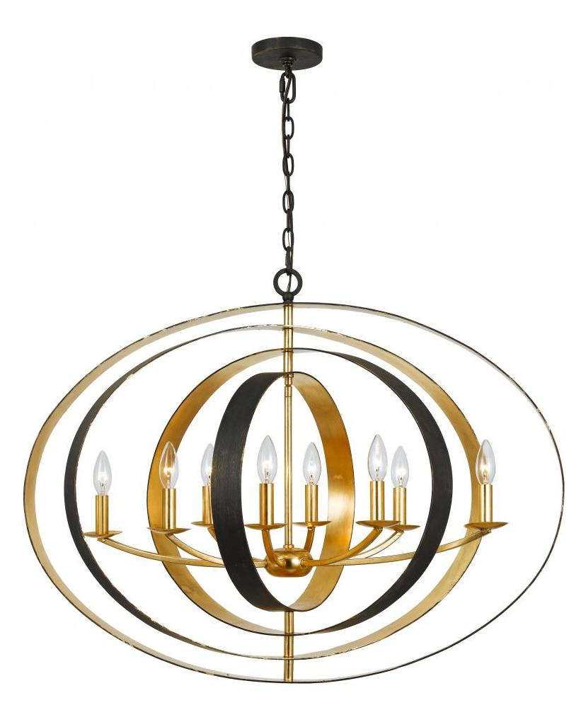 Crystorama English Bronze Antique Gold Luna 8 Light 36in