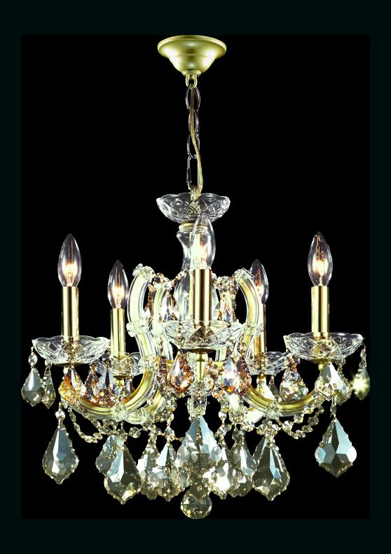 James R Moder Maria Theresa 5 Arm Chandelier Gold Lustre