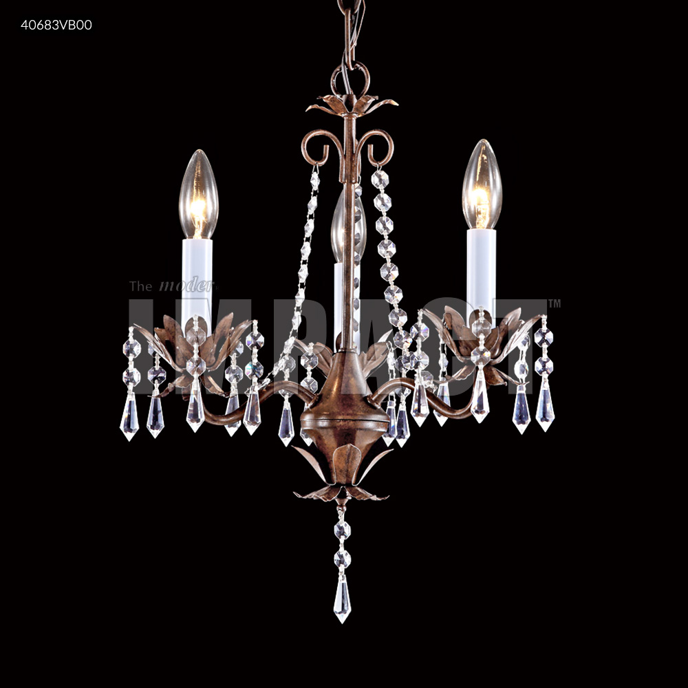 James R Moder 3 Arm Mini Crystal Chandelier Vintage Bronze