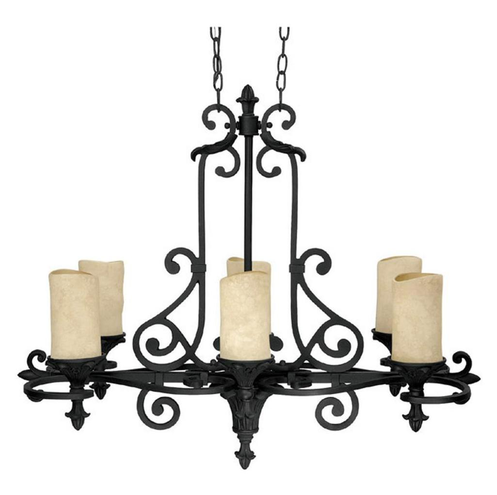 Capital Six Light Wrought Iron Candle Chandelier