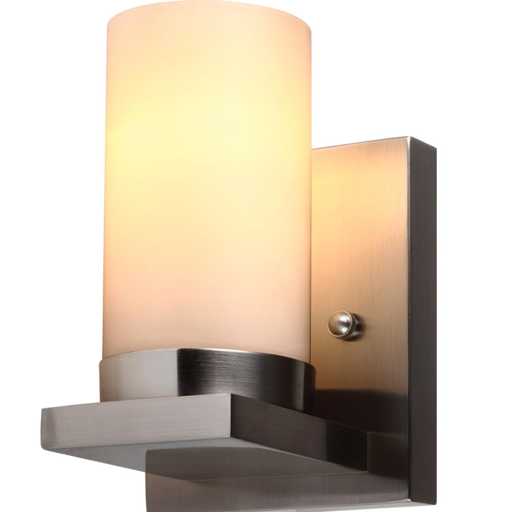 Sea Gull Ellington One Light Wall Bath Sconce In Brushed Nickel With Satin Etched Glass Brushed