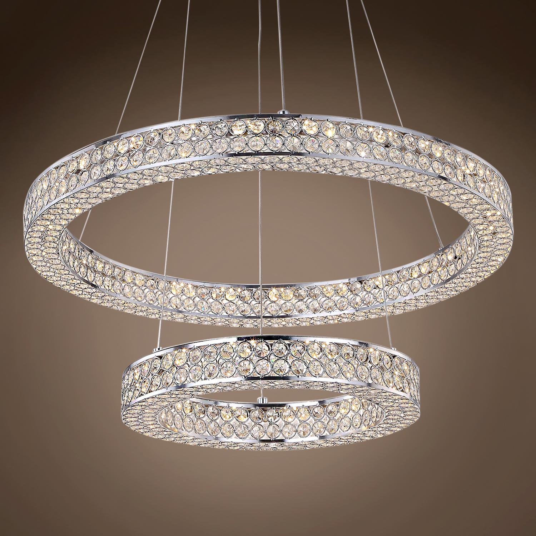 "Modern Chrome Chandelier Crystals Diamond Ring Led Lamp: Joshua Marshal Engaged 24"" Two Ring LED Chrome Pendant"