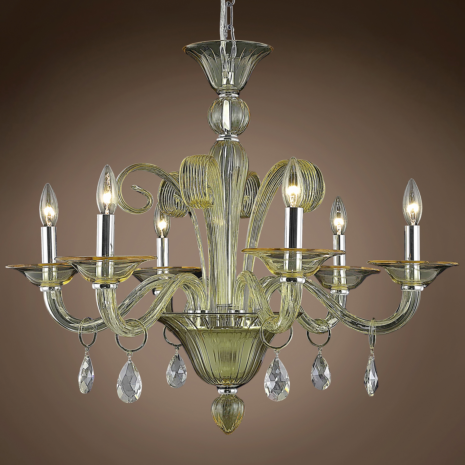 "Joshua Marshal Murano Design 6 Light 29"" Chandelier From"