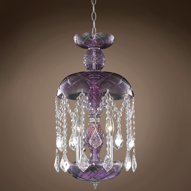 Jm Harvest Design 3 Light 11 Purple Chandelier