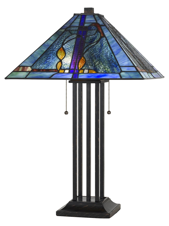 Cal Lighting 60w X 2 Tiffany Table Lamp Matt Black Bo