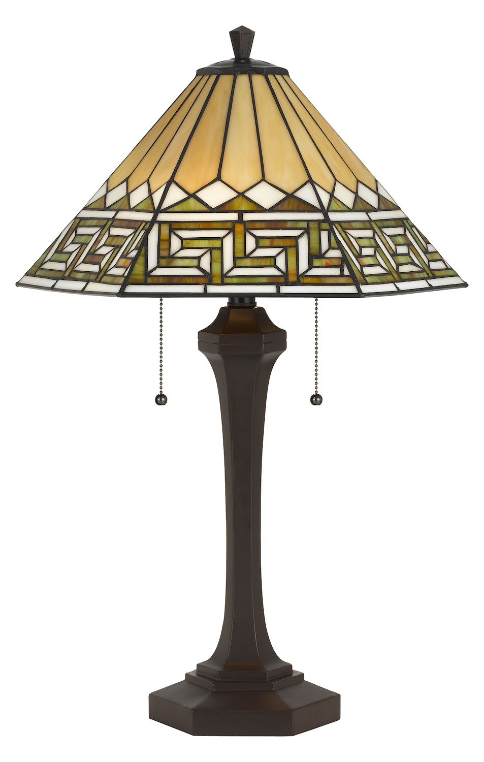 Cal Lighting 60w X 2 Tiffany Table Lamp Matt Black Bo
