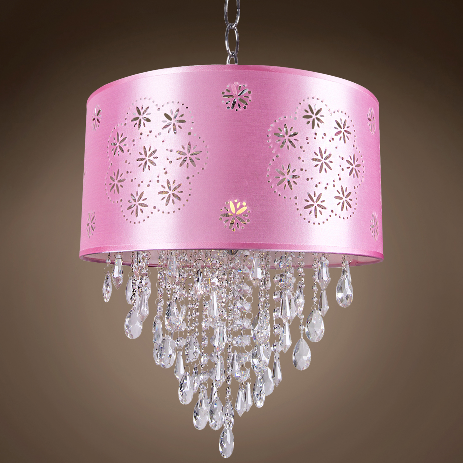 14 In Single Shade White And Silver Hanging Lamp Global: Joshua Marshal 1 Light Pink Drum Shade Pendant In Chrome