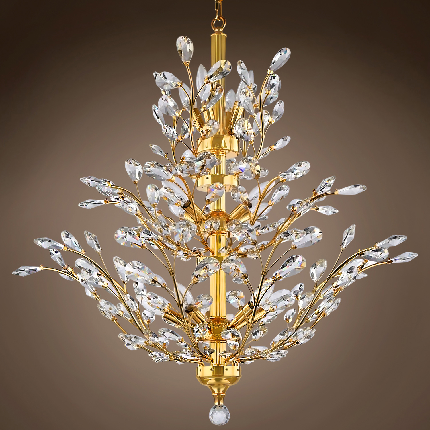 Joshua Marshal 700861 Branch Of Light 10 Light Gold