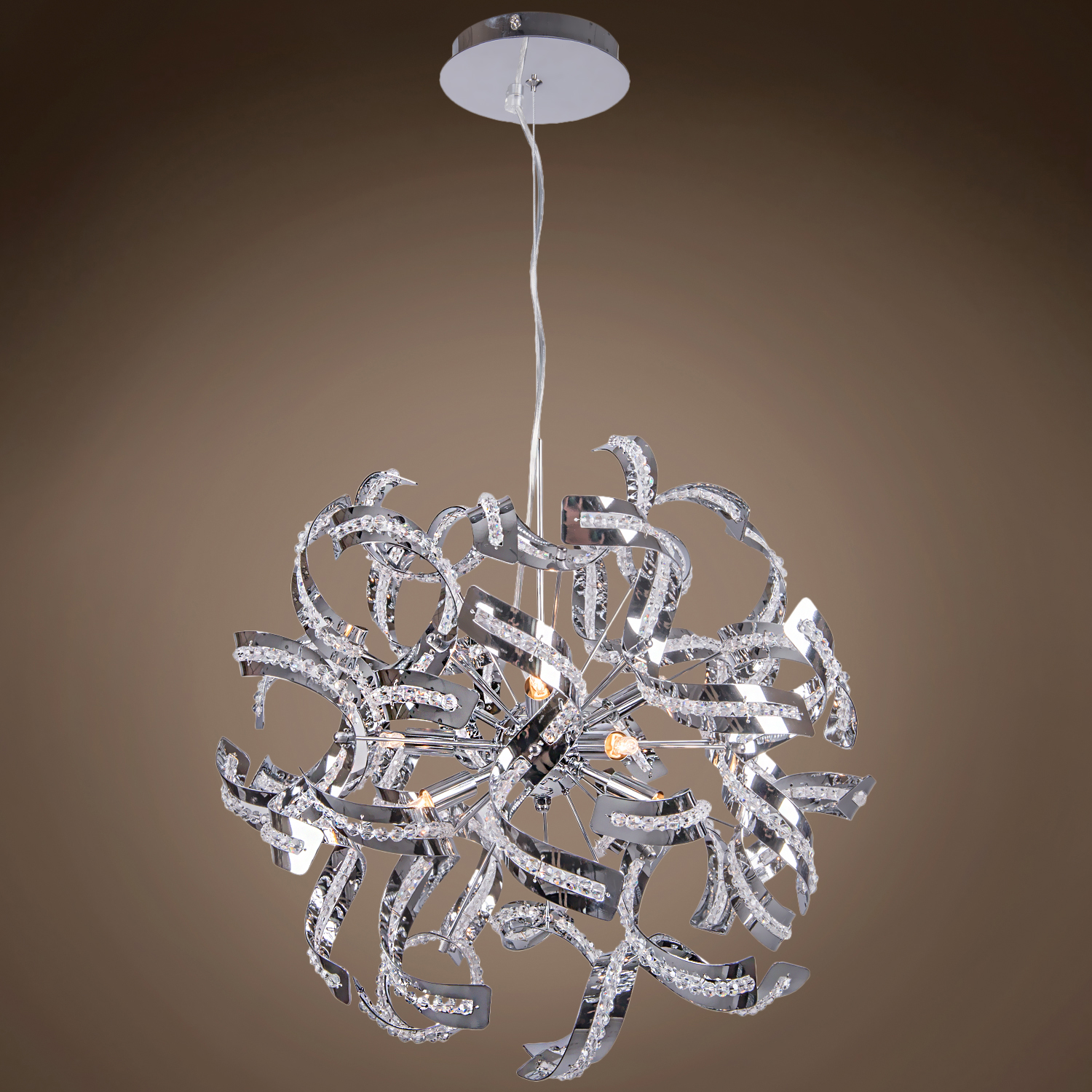 Joshua Marshal 700084 001 9 Light Crystal Pendant Chandelier Light In Chrome Finish With Crystal