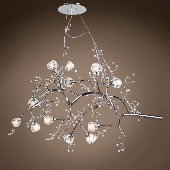 Jm Fusion Series 12 Light 47 Quot Branch Chrome Pendant Chandelier