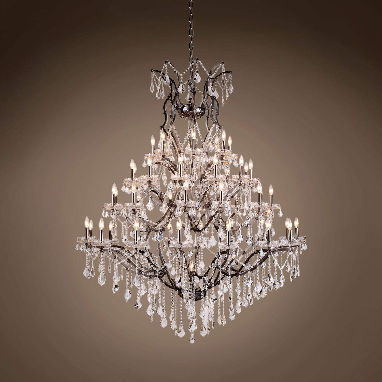 19th C Rococo 49 Light 60 Crystal Chandelier