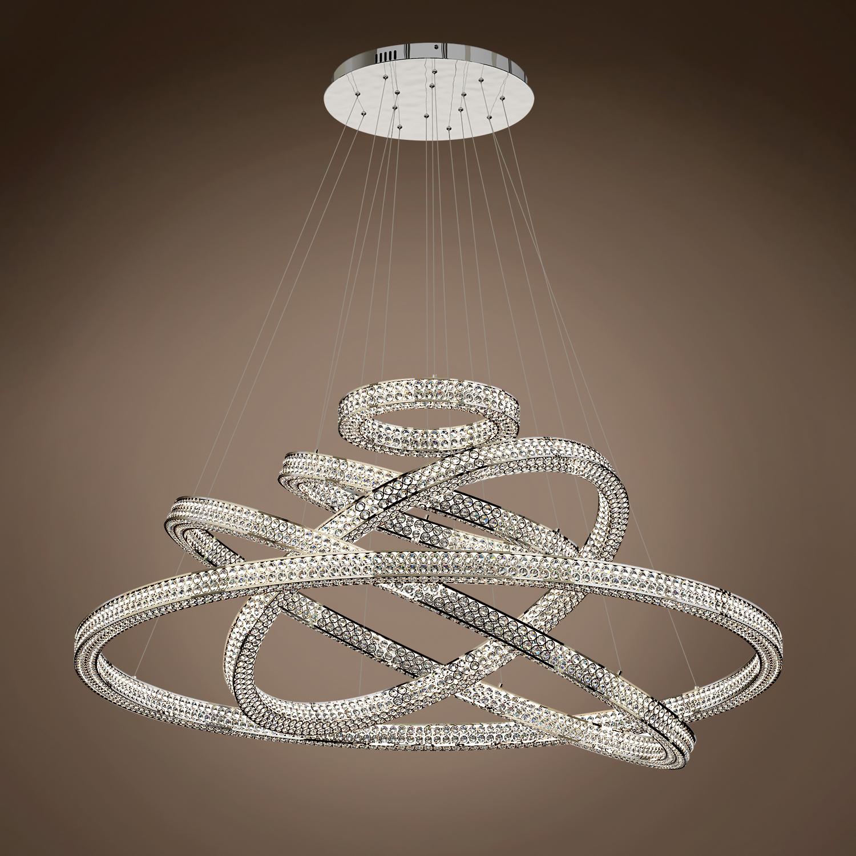"Joshua Marshal Engaged 54"" Five Ring LED Chrome Pendant Light with"