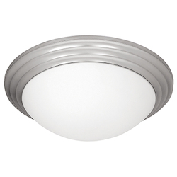 Access Brushed Steel / Opal Strata 2 Light Flush Mount Ceiling Fixture