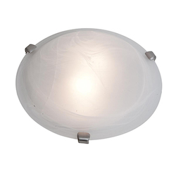 Access Brushed Steel / Alabaster Mona 3 Light Flush Mount Ceiling Fixture
