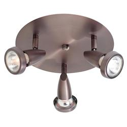 Access Bronze Mirage 3 Light Flush Mount Ceiling Spot Light With Swivel Base