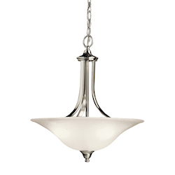 Kichler Brushed Nickel Dover Single-Bulb Indoor Pendant With Bowl-Shaped Glass Shade