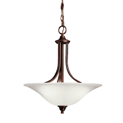 Kichler Brushed Nickel Single-Bulb Indoor Pendant With Bowl-Shaped Glass