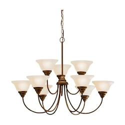 Kichler Brushed Nickel 9 Light 2 Tier Chandelier - 34 Inches Wide