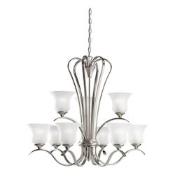Kichler Brushed Nickel Fluorescent Energy Efficient 2-Tier Chandelier With 9 Lights