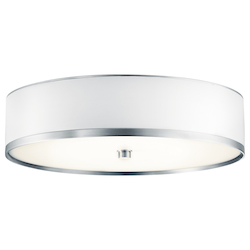 Kichler Brushed Aluminum With White Shade 1 Light Flush Mount Indoor Ceiling Fixture