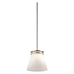 Kichler Brushed Nickel Hendrik Single-Bulb Indoor Pendant With Tapered Glass Shade