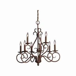 Kichler Tannery Bronze Norwich 2-Tier Candle-Style Chandelier With 9 Lights