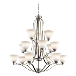 Kichler Kichler 1789Ni Brushed Nickel Langford 3-Tier Chandelier With 15 Lights