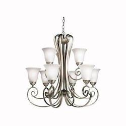 Kichler Kichler 1828Ni Brushed Nickel Willowmore 2-Tier  Chandelier With 9 Lights