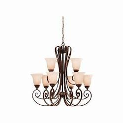 Kichler Nine Light Tannery Bronze Up Chandelier