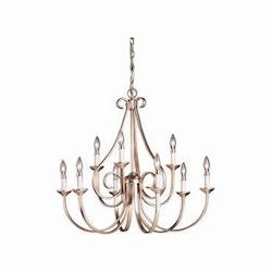 Kichler Brushed Nickel Dover 9 Light 33In. Wide Candle-Style 2-Tier Chandelier