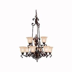Kichler Kichler 2091Cz Carre Bronze Wilton 2-Tier  Chandelier With 9 Lights