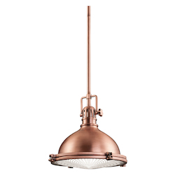 Kichler Antique Copper Hatteras Bay Pendant Light With Metal Shade - 12In. Wide