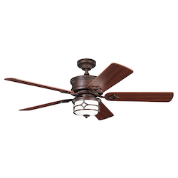 Kichler Tannery Bronze W/ Gold Accent Ceiling Fan