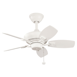 Kichler Satin Natural White 30In. Outdoor Ceiling Fan With 5 Blade