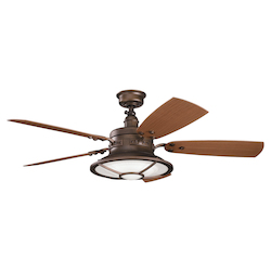 Kichler Four Light Weathered Copper Powder Coat Outdoor Fan