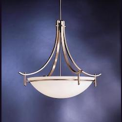 Kichler Antique Pewter Olympia 5 Light 36In. Wide Pendant With Etched Glass Bowl Shade